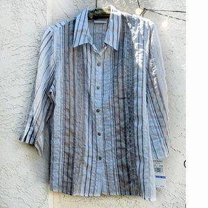 Alfred Dunner Crisp Crinkly Button Down Shirt